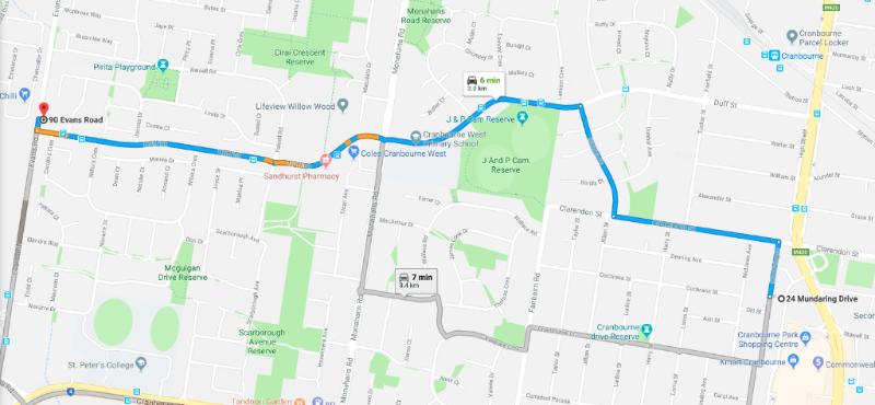 Evans Rd map